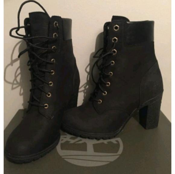 fcb1a564d83e Timberland Black Glancy Heel Boots 6.5. M 5a9894a98df470a1136682f8